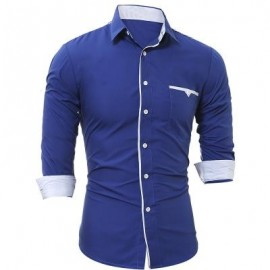 image of PATCH POCKET TRIM MEN'S CASUAL SLIM LONG-SLEEVED SHIRT (ROYAL) 3XL