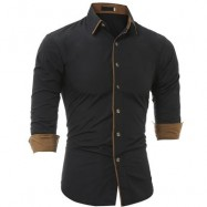 image of AUTUMN AND WINTER NEW CLASSIC COLOR PERSONALIZED STRIPED MEN'S CASUAL SLIM LONG-SLEEVED SHIRT (BLACK) M