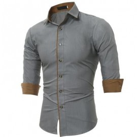 image of AUTUMN AND WINTER NEW CLASSIC COLOR PERSONALIZED STRIPED MEN'S CASUAL SLIM LONG-SLEEVED SHIRT (GRAY) 3XL