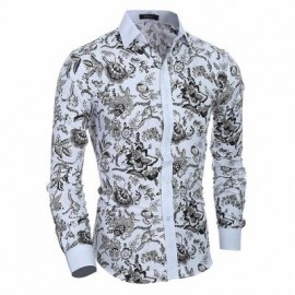 image of 2017 NEW CLASSIC STYLE GENTLEMAN CASUAL SLIM LONG-SLEEVED SHIRT (WHITE) L