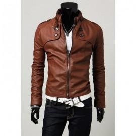 image of KOREAN STAND COLLAR SLIMMING BUTTONS LONG SLEEVES MEN'S PU LEATHER COAT (BROWN) XL