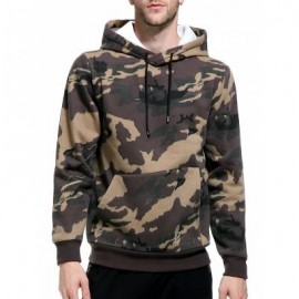 image of HOODED CAMOUFLAGE FLEECE POCKET HOODIE (KHAKI) M