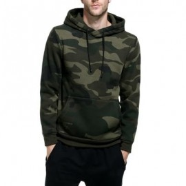 image of HOODED CAMOUFLAGE FLEECE POCKET HOODIE (ARMY GREEN) L