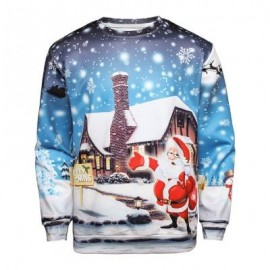 image of CHRISTMAS SANTA HOUSE PRINT PULLOVER SWEATSHIRT (COLORMIX) XL
