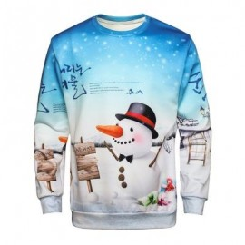 image of CREW NECK CHRISTMAS SNOWMAN PRINT PULLOVER SWEATSHIRT (COLORMIX) 3XL