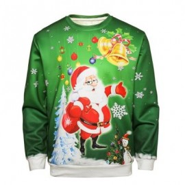 image of CREW NECK CHRISTMAS SANTA BELL PRINT PULLOVER SWEATSHIRT (COLORMIX) L