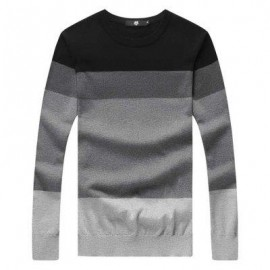 image of CASUAL COLOR BLOCK ROUND NECK LONG SLEEVE SWEATER FOR MALE (BLACK) 2XL