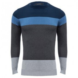 image of CASUAL COLOR BLOCK ROUND NECK LONG SLEEVE SWEATER FOR MALE (BLUE) XL