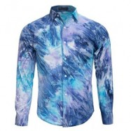 image of MALE TIE-DYE POCKET DESIGN SLIM FIT CASUAL LONG SLEEVE SHIRT (BLUE) M