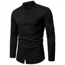 image of TURNDOWN COLLAR COVERED BUTTON SHIRT (BLACK) M