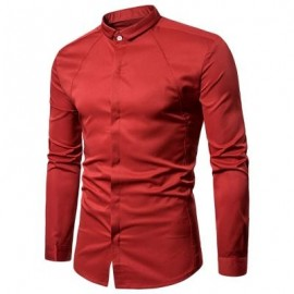image of TURNDOWN COLLAR COVERED BUTTON SHIRT (RED) M