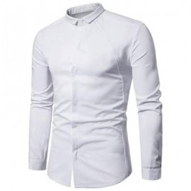 image of TURNDOWN COLLAR COVERED BUTTON SHIRT (WHITE) M