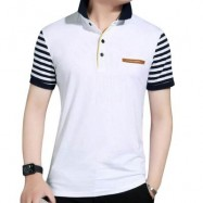 image of MALE PURE COTTON PATCHWORK DESIGN TURN DOWN COLLAR SHORT SLEEVE SHIRTS (WHITE M/L/XL/XXL) XXL