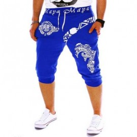 image of STYLISH HIP-HOP GRAFFITI ELASTIC BAND MALE MIDDLE PENCIL SPORTS PANTS (BLUE) L