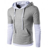 image of PANEL FAUX TWINSET HOODED DRAWSTRING T-SHIRT (LIGHT GRAY) 2XL