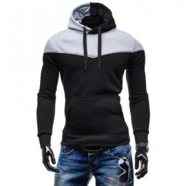 image of STYLISH COLOR BLOCK LONG SLEEVE MALE SPORTS HOODIES (BLACK) 2XL
