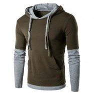 image of PANEL FAUX TWINSET HOODED DRAWSTRING T-SHIRT (ARMY GREEN) S