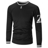 image of CREW NECK Z PRINT SWEATSHIRT (BLACK) M