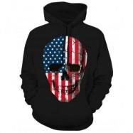 image of AMERICAN FLAG SKULL PRINT HOODIE WITH DRAWSTRING (BLACK) M