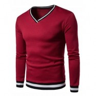 image of STRIPE RIB PANEL V NECK LONG SLEEVE SWEATSHIRT (WINE RED) L