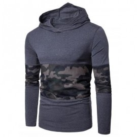 image of HOODED MESH CAMOUFLAGE PANEL T-SHIRT (DEEP GRAY) M