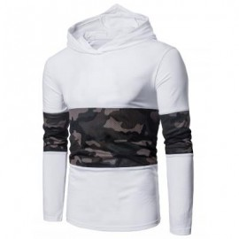 image of HOODED MESH CAMOUFLAGE PANEL T-SHIRT (WHITE) M