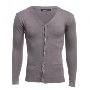 image of CASUAL PURE COLOR V NECK LONG SLEEVE MALE SLIM FIT KNITWEAR (KHAKI) M
