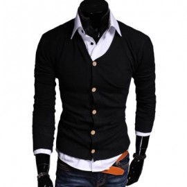 image of CASUAL PURE COLOR V NECK LONG SLEEVE MALE SLIM FIT KNITWEAR (BLACK) M