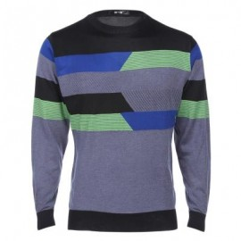 image of STYLISH STRIPE ROUND NECK PULLOVER MALE KNITWEAR (BLUE) M