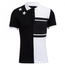 image of COLOR BLOCK STARS DESIGN TURN-DOWN COLLAR SHORT SLEEVE MEN CASUAL SHIRT (WHITE AND BLACK) XL