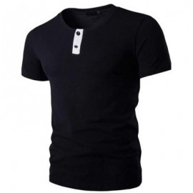 image of STYLISH PURE COLOR BUTTON DECORATION ROUND NECK MALE SHORT SLEEVE SHIRT (BLACK) L