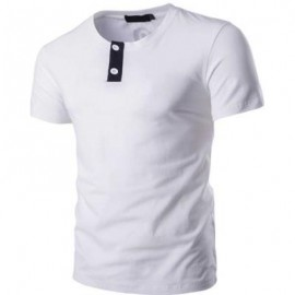 image of STYLISH PURE COLOR BUTTON DECORATION ROUND NECK MALE SHORT SLEEVE SHIRT (WHITE) 2XL