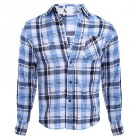 image of CASUAL GRID DESIGN SLIM FIT MALE LONG SLEEVE SHIRT (AZURE) 2XL