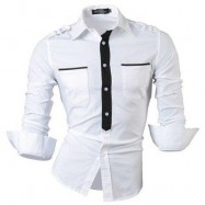 image of COLOR BLOCK SLIM FIT TURN DOWN COLLAR LONG SLEEVE CASUAL SHIRT FOR MALE (WHITE) XL