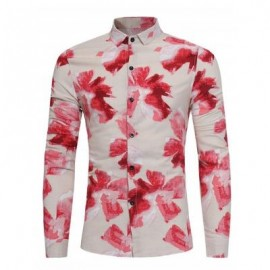 image of FLORAL PAINTING PRINT COTTON LINEN SHIRT (RED) XL