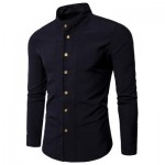 CASUAL STAND COLLAR LONG SLEEVE SHIRT (BLACK) L
