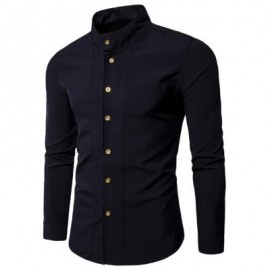 image of CASUAL STAND COLLAR LONG SLEEVE SHIRT (BLACK) L