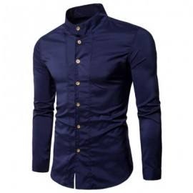 image of CASUAL STAND COLLAR LONG SLEEVE SHIRT (PURPLISH BLUE) M