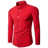 image of CASUAL STAND COLLAR LONG SLEEVE SHIRT (RED) M