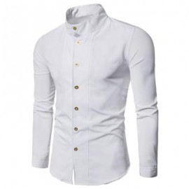 image of CASUAL STAND COLLAR LONG SLEEVE SHIRT (WHITE) M