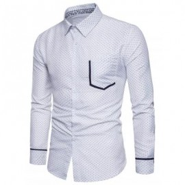 image of TURNDOWN COLLAR DOT PRINT COLOR BLOCK POCKET SHIRT (WHITE) M