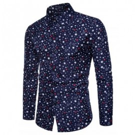 image of TURNDOWN COLLAR COLORFUL STARS PRINT SHIRT (CADETBLUE) M