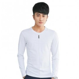 image of MENS SOLID COLOR ROUND NECK LONG SLEEVE SLIM T-SHIRT (WHITE) M