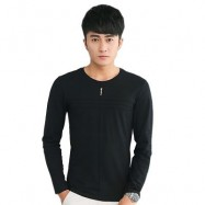 image of MENS SOLID COLOR ROUND NECK LONG SLEEVE SLIM T-SHIRT (BLACK) M