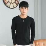 MENS SOLID COLOR ROUND NECK LONG SLEEVE SLIM T-SHIRT (BLACK) M