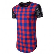 image of PU LEATHER PANEL SIDE ZIP UP PLAID LONGLINE T-SHIRT (BLUE) XL