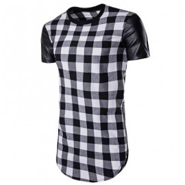 image of PU LEATHER PANEL SIDE ZIP UP PLAID LONGLINE T-SHIRT (BLACK) 2XL