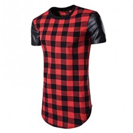 image of PU LEATHER PANEL SIDE ZIP UP PLAID LONGLINE T-SHIRT (RED) L
