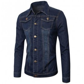 image of POCKETS EMBELLISHED TURN-DOWN COLLAR DENIM JECKET 3XL