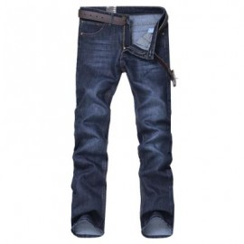 image of STRAIGHT LEG BLEACH WASH CLASSICAL JEANS (BLUE) 32